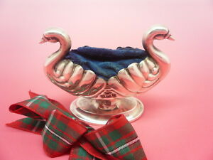 Silver Pin Cushion Sterling Double Headed Swan English Hallmarked 1897
