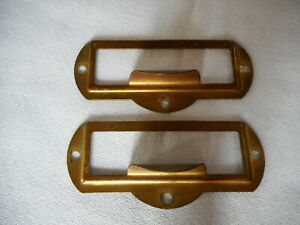 Pair Of Vintage Brass Index Card Catalog File Drawer Plate Pull 3 5 8 By 1 1 2