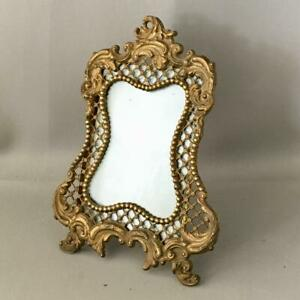 Antique Vtg Victorian Open Work Gold Brass Table Top Picture Frame With Glass