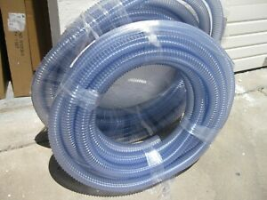 New 50 Roll 2 1 4 Corrugated Clear Pvc Suction discharge Hose Food