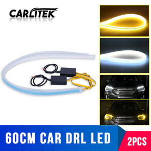 2 60cm Flexible Led White Drl Daytime Running Lamp Amber Turn Signal Strip Light