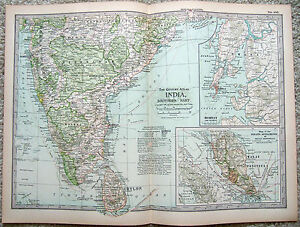Southern India Original 1897 Map By The Century Company Antique