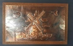 Vintage Repousse Copper Wall Hanging Mid Century Windmill Wood Frame 24x15
