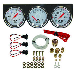 Universal 2 5 8 Chrome Oil Pressure Water Volt Triple 3 Gauge Set Gauges Kit