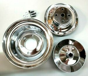 Bbc Big Block Chevy Chrome Steel Long Water Pump Pulley Kit 396 427 454 1965 86