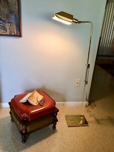 Vintage Mid Century Modern Brass Lucite Pharmacy Floor Lamp David Thomas