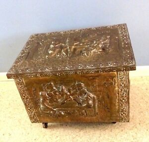 Antique English Fireplace Wood Box Embossed Brass Trunk Chest Wheels