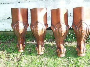 Set 4 Large Vintage Carved Wood Furniture Pool Table Billiard Legs Repurpose