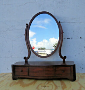 Chippendale Mahogany Small Vanity Bathroom Bedroom Dresser Top Mirror 9254