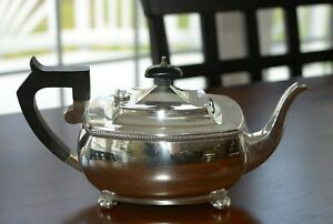 George V English Sterling Silver Hallmarked Teapot Exceptional Condition
