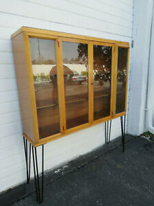 Mid Century Modern Display Cabinet China Closet Cupboard With Hairpin Legs 9695