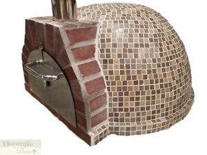 Pizza Oven Outdoor tan Mosaic Tile Brick Wood Coal Fired Bbq Grill Stone New