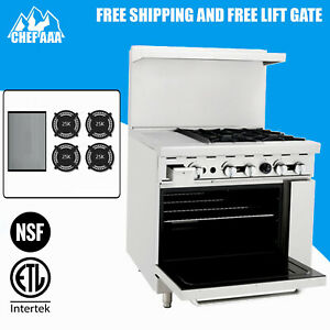 Etl Commercial Kitchen 36 Gas Range With Oven Ato 12g4b