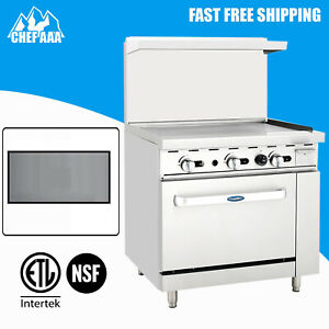 36 Commercial Oven Range Griddle With Oven Kitchen Gas Stainless Steel Etl