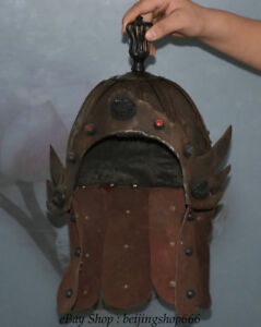 10 Old Chinese Copper Leather Dynasty Palace General Soldier Helmet Casque
