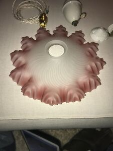 French Vintage Pink Edged Pendant Glass Light Shade New Fittings Art Deco