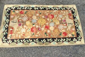 Vintage Hand Crafted Hooked Rug 66x 38 Floral