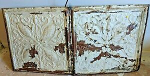 Antique Metal Tin Ceiling Tile 24 X48 Shabby Chic Gothic Torch Reclaim Salvage
