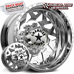 American Force Contra H01 Polished 24x8 25 Dually Wheel 10 Lug Wheel Rim Set 6