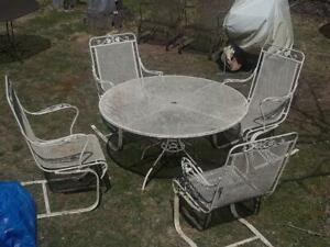 Salterini Wrought Iron Patio Set 4 Cantilever Bounce Rock Ornate Chairs Table