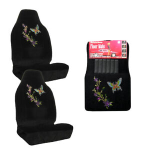 Butterfly Purple Flower Crystal Studded Rhinestone Floor Mats Seat Covers Combo
