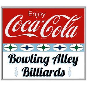 Enjoy Coca-Cola Bowling Alley Billiards Decal 1960s Roadside Style 24