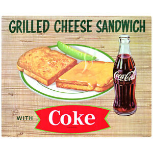 Coca-Cola Grilled Cheese Sandwich Fishtail Diner Decal 24 x 19 1950s Style Decor