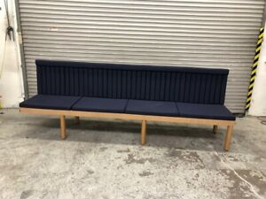 117 Left Bench Dining Seating Blue Cushion Restaurant Commercial Booth 1796