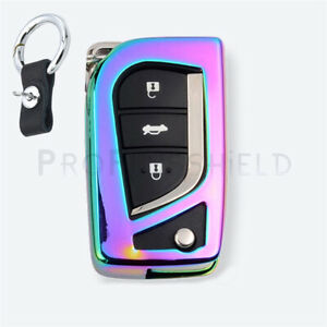 1 Metal Rainbow Car Smart Key Fob Chain Ring Case Cover For Toyota Accessories
