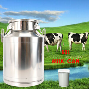 50l Milk Can Wine Pail Bucket Stainless Steel Tote Jug Oil Barrel Tea Canister