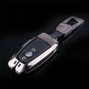 Metal Car Key Gray Case Fob Cover Accessories For Ford Explorer Mondeo Edge