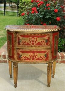 Antique Italian Chest Of Drawers Nightstand End Table Red Gold Gilt Florentine