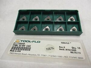 Tool flo Tpmc 32 Nv C6h Triangle On Edge Carbide Inserts 0111000d Lot Of 10 Pcs