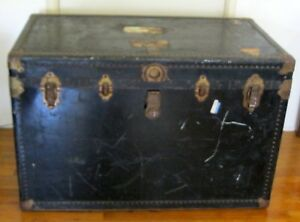 Antique Oshkosh Travel Trunk With Tray Wood Metal Large 39 X 22 X 25
