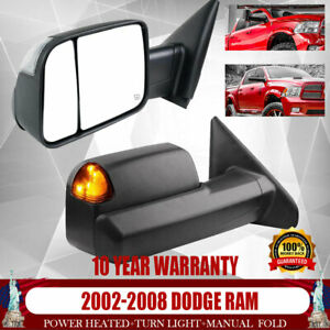 For 03 09 Dodge Ram 2500 3500 02 08 Ram 1500 Tow Mirrors Heated Flip Up Signal