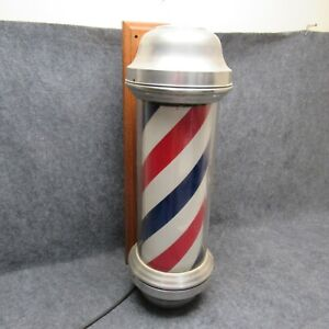 Vintage Rose Revolving Lighted Barbers Pole Wall Or Flange Mount Lamp Ad Sign