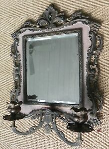 Victorian Antique Wall Mirror Sconces Signed Nb Iw National Brass Iron Works