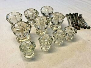 Set Of 10 Antique Vintage Clear Glass Crystal Cabinet Knob Drawer Door Pulls
