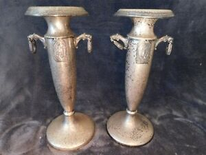 Rare Large Silver Plated Pair Of Ornate Maiden Figures Victorian Candle Sticks