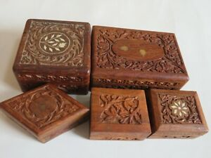 Vintage Wood Carved Box Boxes Jewelry Trinket Inlay Wooden R16