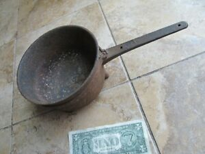 Early Antique Fireplace Footed Cast Iron Cook Pot Hearth Americana Primitive