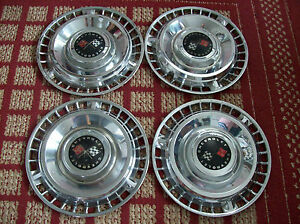1961 Chevy Corvair Set Of Four 14 Oem Hubcaps