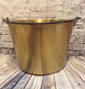 Antique American Brass Kettle Co Bucket Nice Patina 5
