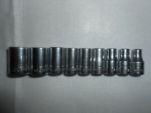 Vintage 9 Piece Craftsman V Socket Set 1 4 Drive 6 Point 3 16 1 2