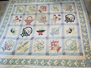 Vtg 70s Feed Sack Flower Basket Hand Stitched Full Quilt 85x83