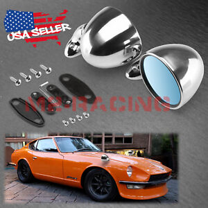 Universal Classic Chrome Hotrod Bullet Muscle Car Vintage Fender Side Mirror Set