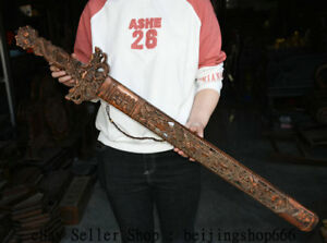 40 Old Chinese Boxwood Wood Carved Feng Shui Dragon Bamboo Birds Dynasty Sword
