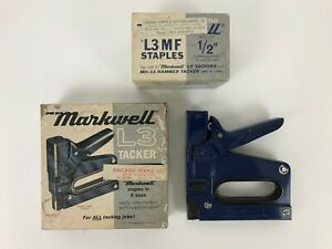 Markwell L3 Tacker Vintage Blue Stapler Gun Usa Tool W Staples