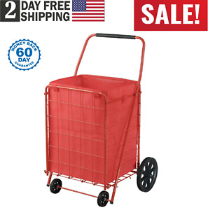 Extra Large Shopping Cart Collapsible Folding Rolling Heavy Duty Grocery Laundry