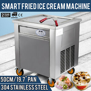 Smart Fried Ice Cream Machine With Control Panel Square Pan 304 Stainless Steel